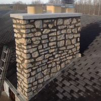 A chimney after being pressure washed.