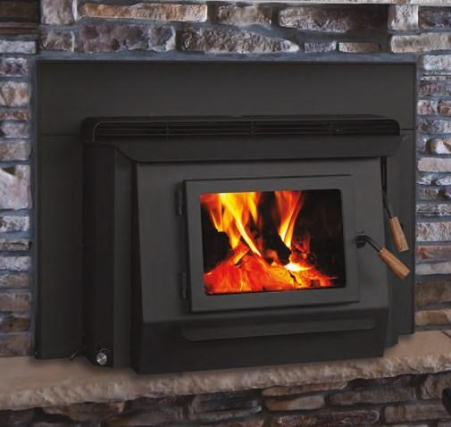 Closeup of a gas fireplace
