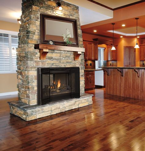 A gas fireplace in a home